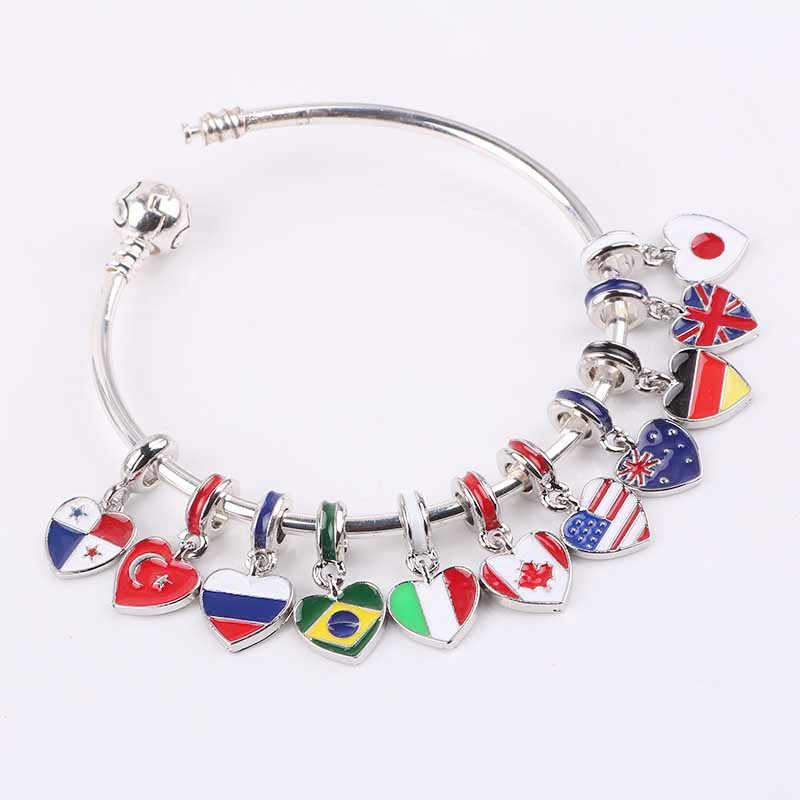 dodocharms 2019 spring new 11 country choose national flag Hanging bead charms Fits European Pandora Charm Bracelets