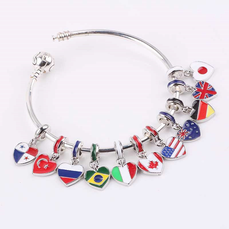 dodocharms 2018 spring new 11 country choose national flag Hanging bead charms Fits European Pandora Charm Bracelets