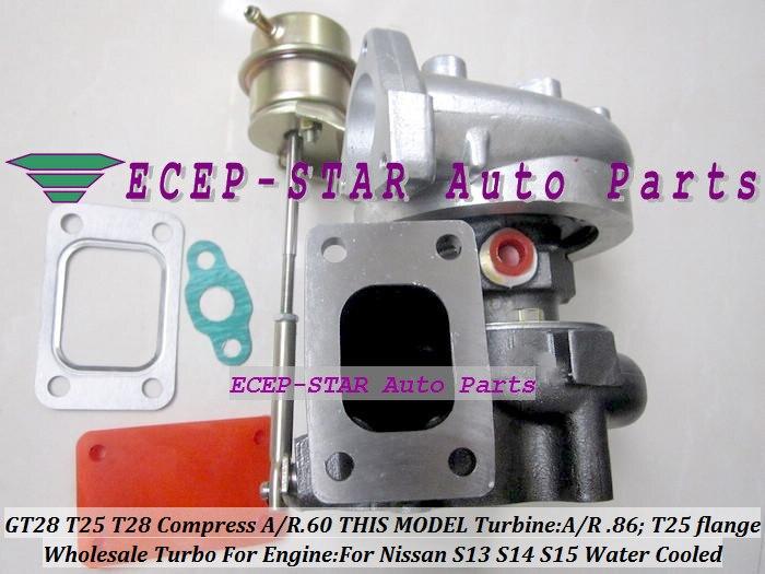 T25 T28 T25T28 T25/T28 T25/28 Water Cooled Turbo For Nissan S13 S14 S15 CA18DET 1.8L SR20DET 2.0L T25 Comp AR.60 Turbine .86 A/R