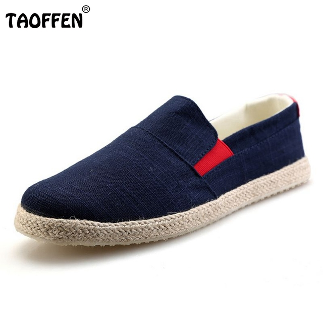 New Mens Canvas Shoes Casual Fashion Denim For Men Classic Flat Shoes Slip On Lace-up Shoes Male Espadrilles Size 39-44 M0144
