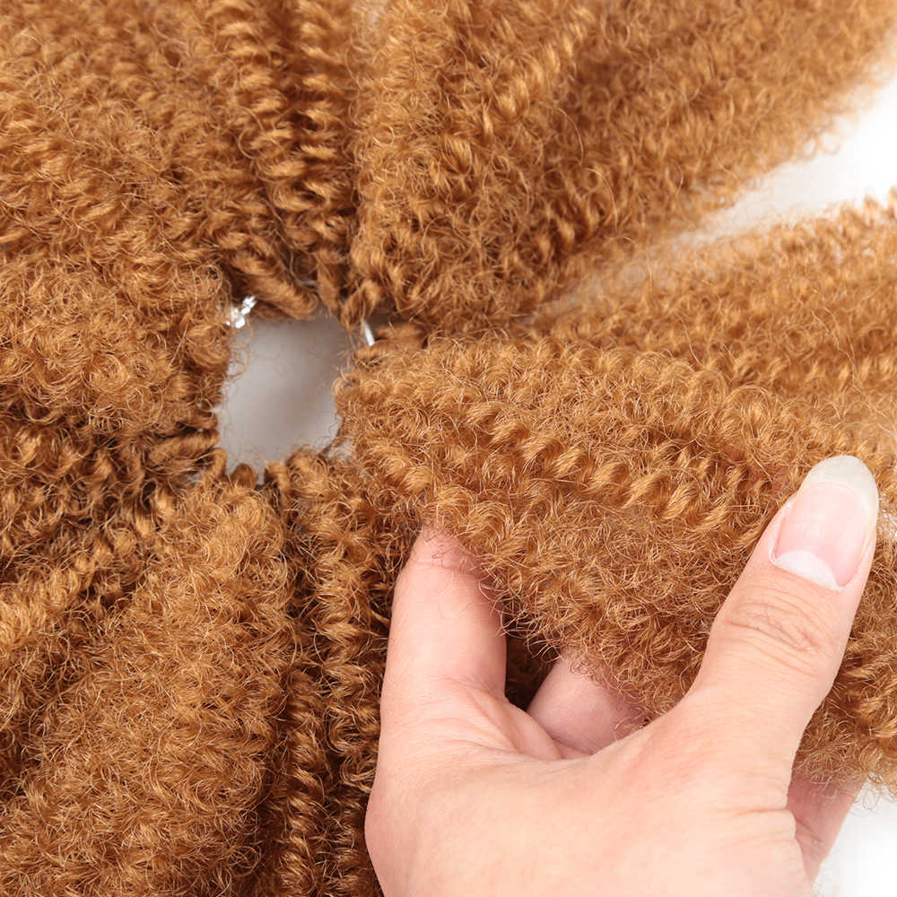 "8 ""Afro Rambut Keriting Massal Crochet Rambut Twist Mengepang Ekstensi Rambut Sintetis Kepang untuk Wanita"