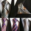 100% corbatas de seda gravata 8 cm hombres corbatas diseñadores de moda 2016 sets pañuelo corbata corbata y pañuelo de bolsillo conjunto