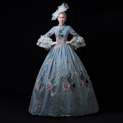 100%real pale blue peacock vintage rococo medieval dress renaissance Gown queen Victoria/Marie/ Belle Ball/drama/ball gown