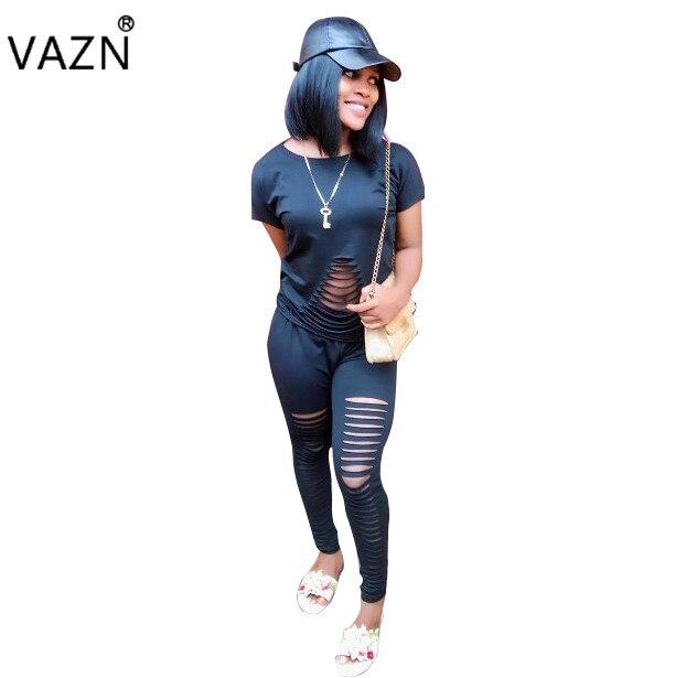 Vazn модные элегантные Стиль 2017 Bodycon комбинезон короткий рукав полной длины комбинезон черный летний комбинезон dn8003