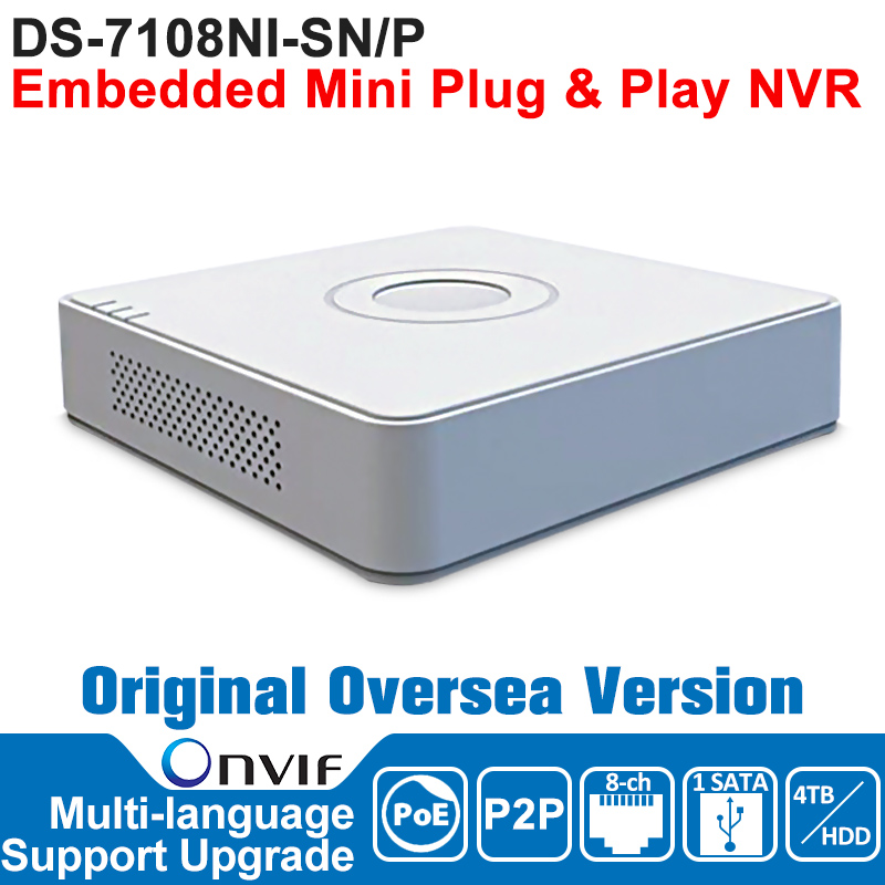 HIKVISION NVR 8CH POE IP Camera Network Video Recorder DS-7108NI-SN/P 8CH NVR POE 8CH POE 1SATA Embedded Mini Plug and Play NVR original english version nvr ds 7104ni sn p 4ch mini nvr 4ch poe network video recorder hd 1080p nvr work well with h 265 ipc