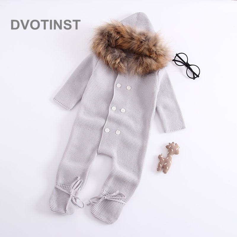 Dvotinst Newborn Baby Boy&Girls Clothes Winter Full Sleeves Knit Crochet Hooded Toddler Jumpsuit Outfit Infant Clothing Costume