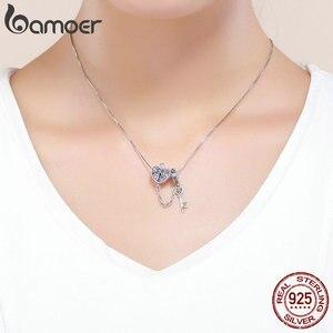 Image 5 - BAMOER 100% 925 ayar gümüş anahtar kalp kilit kristal CZ zincir Charms Fit Charm bilezikler & kolye zincir takı SCC772