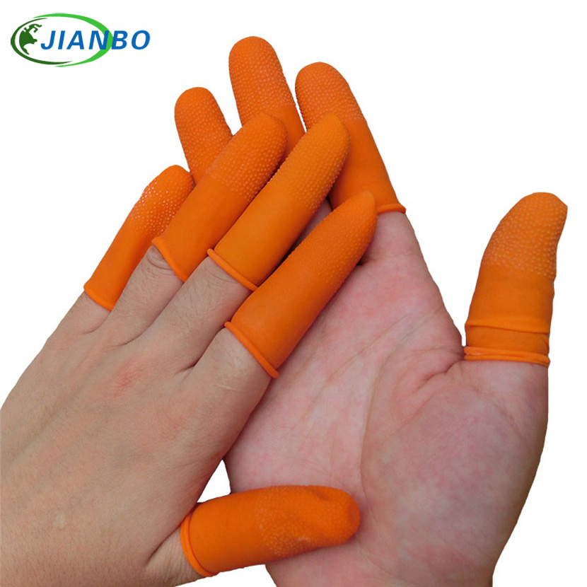100pcs Latex Finger Golves Orange Antiskid Rubber Finger Glove Counting Work Nail Covers Protectors Cots Antistatic Fingertip