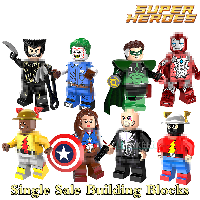 Single Sale Super heroes Female Captain America Flash Punisher Iron Man Mendez Parallax Red Building Blocks Toys gift PG8105 super heroes single sale the villain of yellow lantern skeletor heman he man he man building blocks toys for children gift kf921