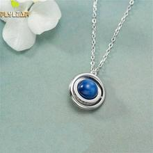 Flyleaf 925 Sterling Silver Necklace Women Natural Stone Kyanite Satellite Rotatable Fashion Fine Jewelry Necklaces & Pendants
