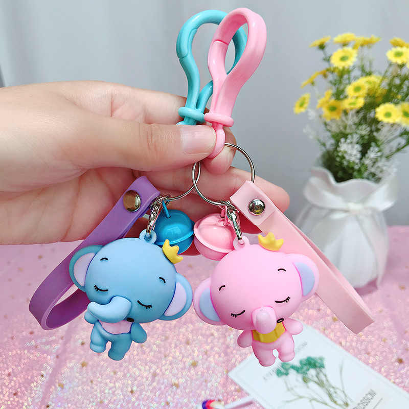 Cartoon Baby Elephant Key chain Pendant silicone leather  Keychains For Women's Backpack Car Accessories Keyring