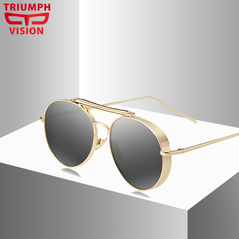 TRIUMPH VISION Steampunk Gold Black Sunglasses For Women Reflective UV400 Sun Glasses Women Fashion Pilot Ladies Oculos De Sol