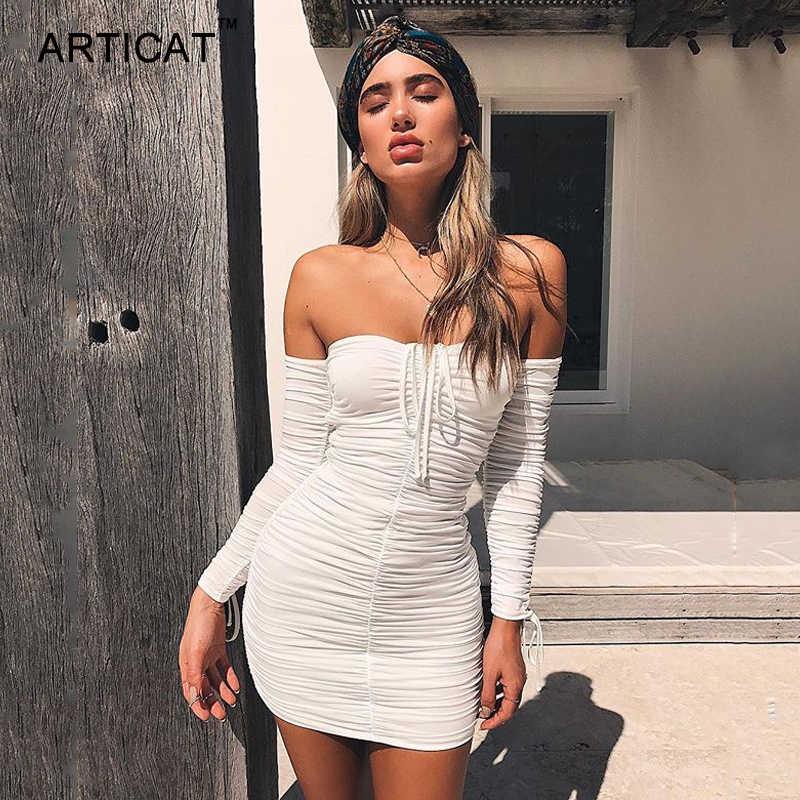 Articat Wanita Musim Dingin Musim Gugur Perban Gaun Wanita 2020 Seksi Off Bahu Lengan Panjang Slim Elastis Bodycon Gaun Pesta Vestidos