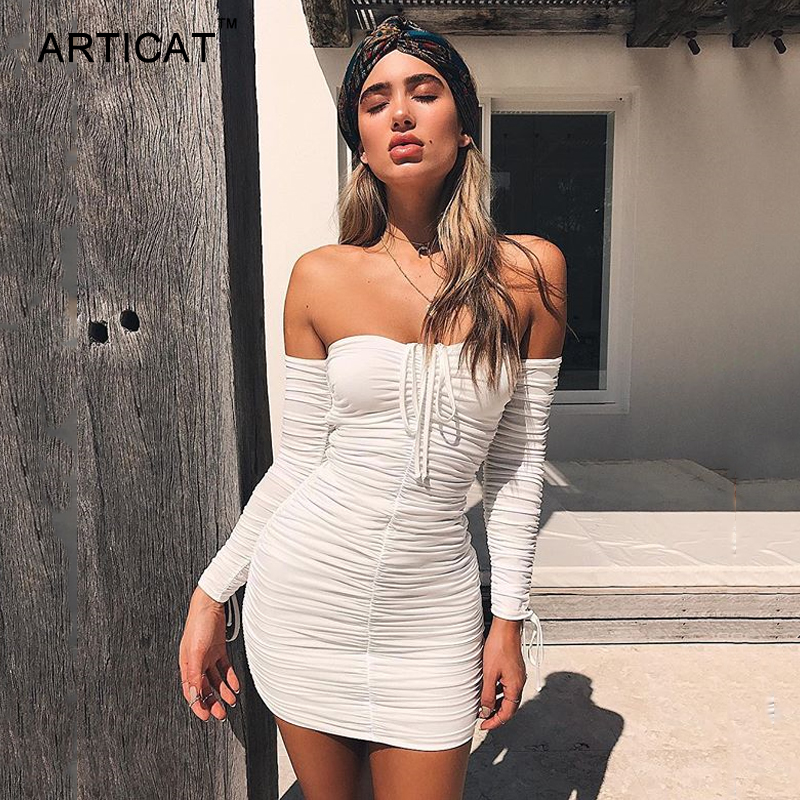 shop Articat Women Autumn Winter Bandage Dress Women 2020 Sexy Off Shoulder Long Sleeve Slim Elastic Bodycon Party Dresses Vestidos with crypto, pay with bitcoin
