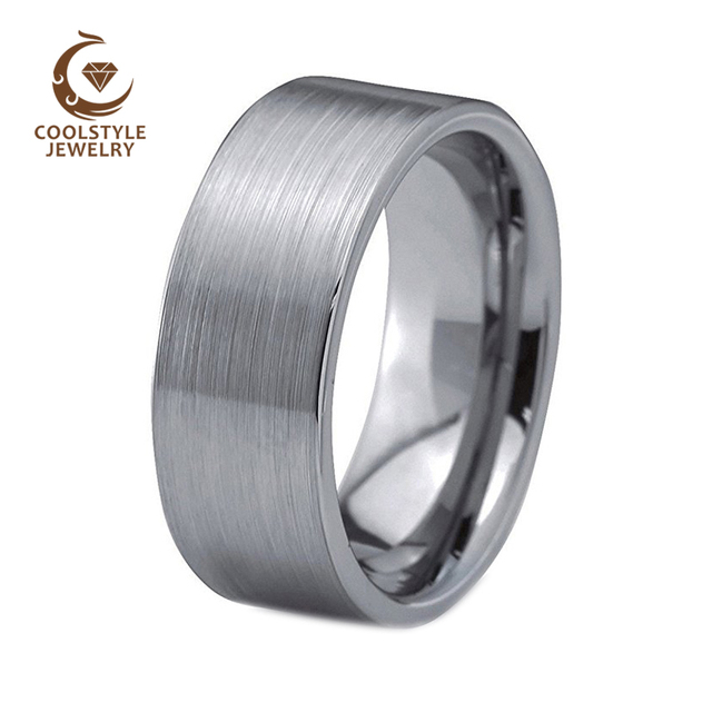 10mm Brushed Finish Flat Pipe Cut Tungsten Carbide Men S Wedding Band Fashion Ring Comfort Fit