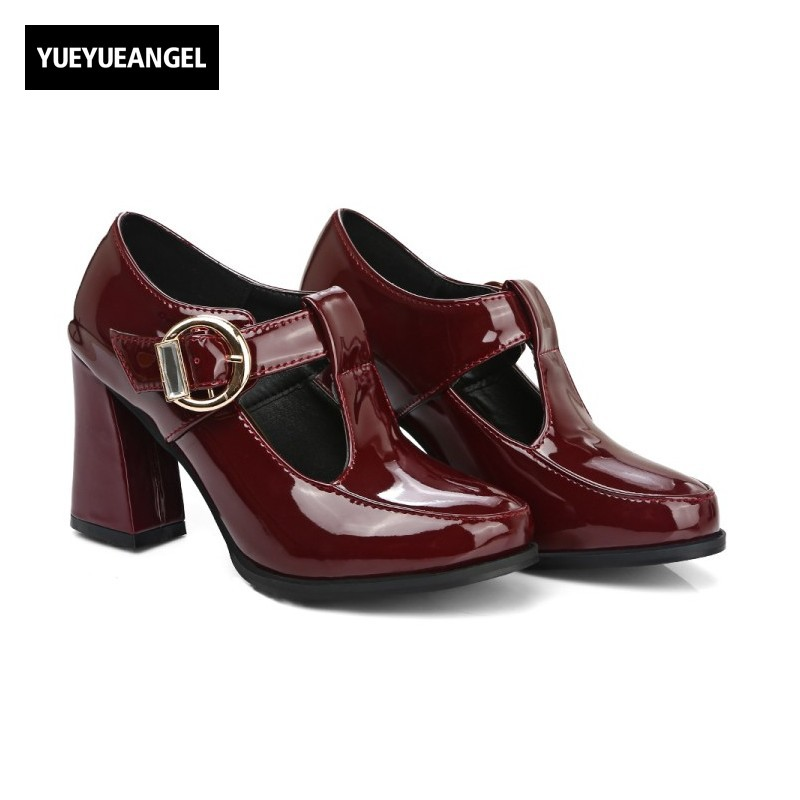 2017 new retro preppy style buckle t patent leather