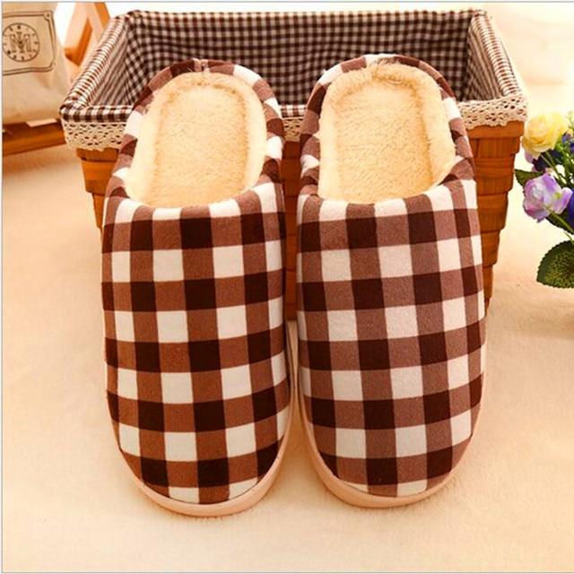 Дети Тапочки Теплые противоскользящие бытовые домашние тапочки полоса хлопок обувь прекрасный проверки противоскользящие хлопка обувь FCS635