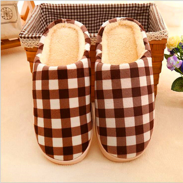 Children Slippers Warm antiskid household house slippers stripe cotton shoes lovely antiskid check cotton  shoes FCS635