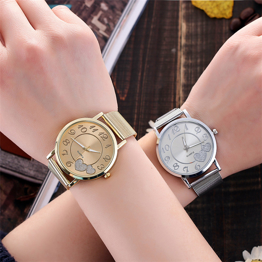 Women Silver Gold Mesh Love Heart Dial Wristwatches Relojes Para Mujer Ladies Watch Fashion Casual Women's Steel Quartz Watches