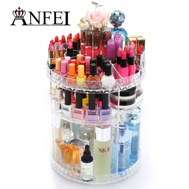 ANFEI 360 Degree Rotating Multi Functional Acrylic Cosmetic Storage Box  Simple Assembly Atmosphere Beautiful