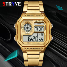 Sport Fitness Digital Watch Men Fashion Square 5bar Waterproof Multiple Time Zone Watches High Quality Dropshipping New Arrival