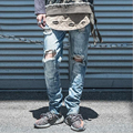 2016 hot fashion casual straight type hole jeans men's cotton cowboy male jeans solid color trousers