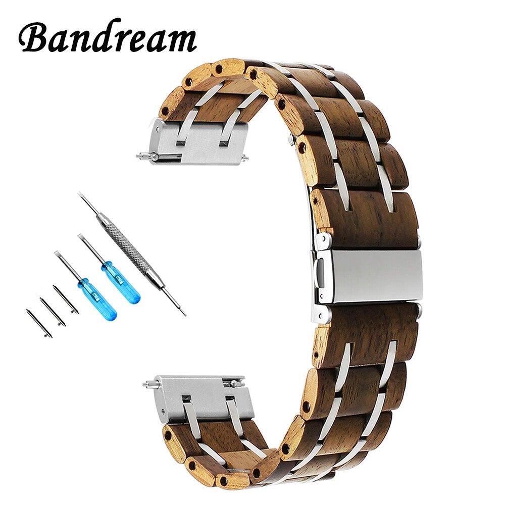 Bracelet de montre 20mm 22mm en bois naturel et acier inoxydable pour Breitling Omega Mido IWC Maurice Lacroix bracelet de montre à dégagement rapide