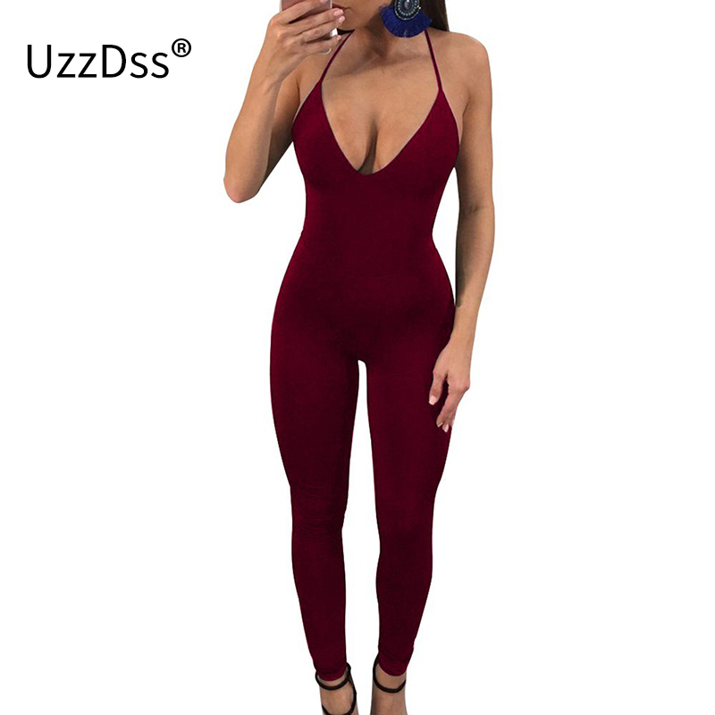 UZZDSS Women Overalls Bodycon Bandage Rompers Womens Jumpsuit Sexy Skinny Long Pants Female Backless Party Club Jumpsuits