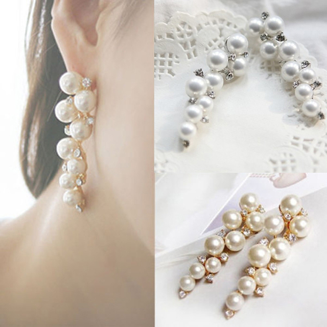 New Fashion Bride Earring Pearl Crystal Jewelry Imitation Gold Silver Stud Long Earrings