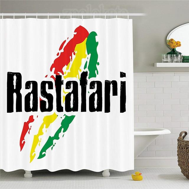 Rasta Shower Curtain Reggae Rastafari Lettering On Grunge Design Flag  Colors Backdrop Art Print Fabric Bathroom