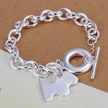 Fina del verano del estilo de plata chapada pulsera 925-sterling-silver dog tag joyería pulseras de cadena para mujeres hombres SB276