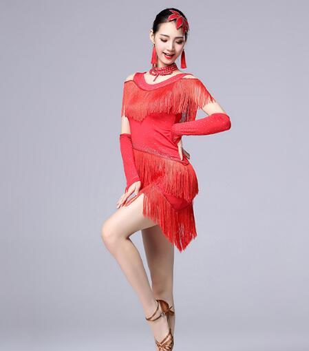 2019 여성 새 섹시한 경쟁 댄스 의류 스팽글 의상 프린지 살사 드레스 볼룸 댄스 차차 댄스 라틴 드레스