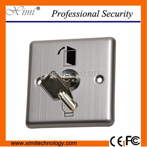 Emergency switch for door access control stainless steel panel with key exit button exit swich  alarm button fire emergency call luxury switch panel alarm with key brushed silver stainless steel sos panel