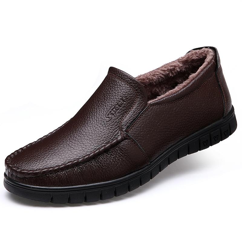 Fashion Fall Winter Shoes Men s Flats Business Warm Ankle Boots Men Fur Shoes Slip on
