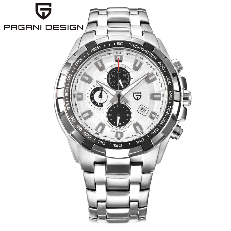 Hot Brand Big Dial Mens Watches PAGANI DESIGN Men Quartz Watch Chronograph Military Wristwatch Full Steel Sports Dive Male Clock design for men full steel watch quartz fashion hot sale relojes male watches fashions luxury round dial famous brand relogios