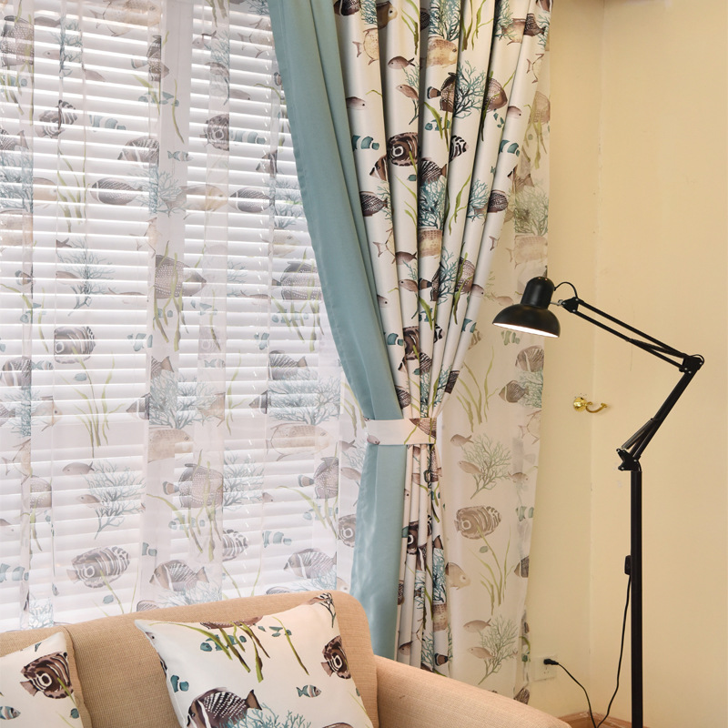Mediterranean Cute Fish Curtains Modern Luxury Curtains For Living Room  Blackout Curtains For Bedroom Window Curtain In Curtains From Home U0026 Garden  On ...