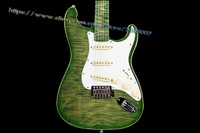 10S ICC Custom Lizard 5A Flame Maple Drop Top Electric Guitar Juice Green Burst