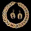 2016 Новый Высокое Качество Италия 750 Настоящее Позолоченные Ювелирные Наборы Мода 18 К/Роза/Платина Большой Choker ожерелье Серьги Устанавливает