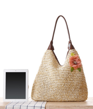 OCEHNUU Summer Vacation Women Beach Bags straw Totes Bag 2020 Bolsa Feminina Big Fashion Women's Bags Shoulder Bag Flower Zipper 3