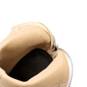 Image 4 - 2020 אופנה יוקרה נשים 10.5cm גבוהה עקבים פטיש גרב מגפי עור בלוק לבן עקבים קרסול מגפי Scarpins שמנמן נעליים YMN 36