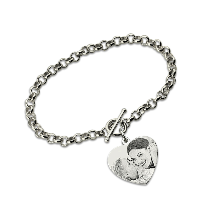 AILIN Custom Photo Heart Bracelet in Sterling Silver Picture Bracelet Heart Charm Photo Keepsake Jewerly Memorial Gift personalized photo engraved bracelet heart charm pendant bracelet sterling silver jewelry gift for lovers