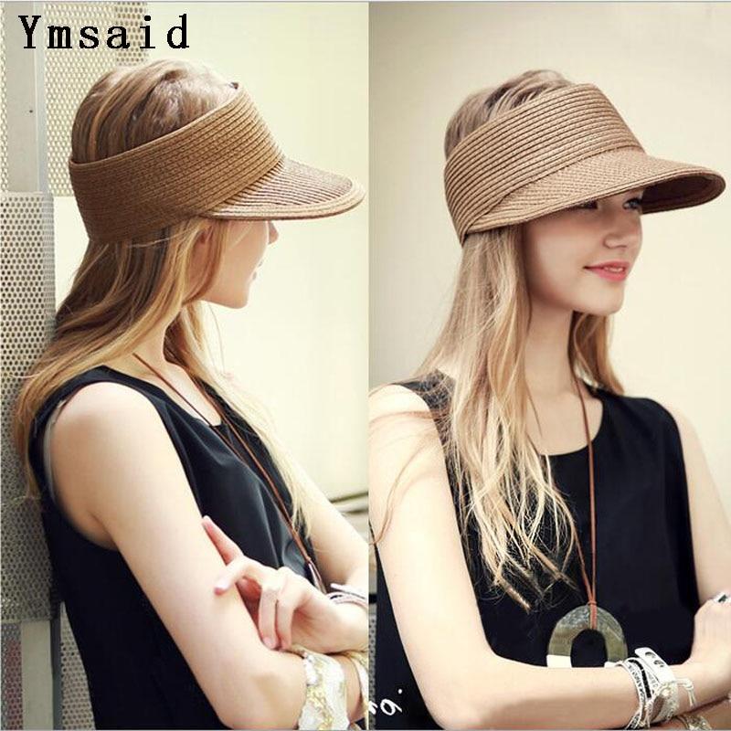 0a199da7d US $7.42 44% OFF|2019 Spring Summer New Big Wide Brim Straw Sun Visors hat  Women/Gilr Fashion Beach Empty Top Caps 4 Solid Colors-in Women's Sun Hats  ...