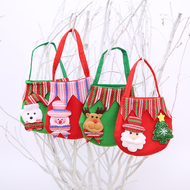 New Christmas Gift Bag Tree Pattern Santa Claus Candy Bag Handbag Home Party Decoration Gift Bag #252389