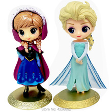 Snow Queen Elsa Anna Q Posket Model PVC Action Figures Princess Cartoon Anime Dolls Figurines Kids Toys cake topper Party Decor