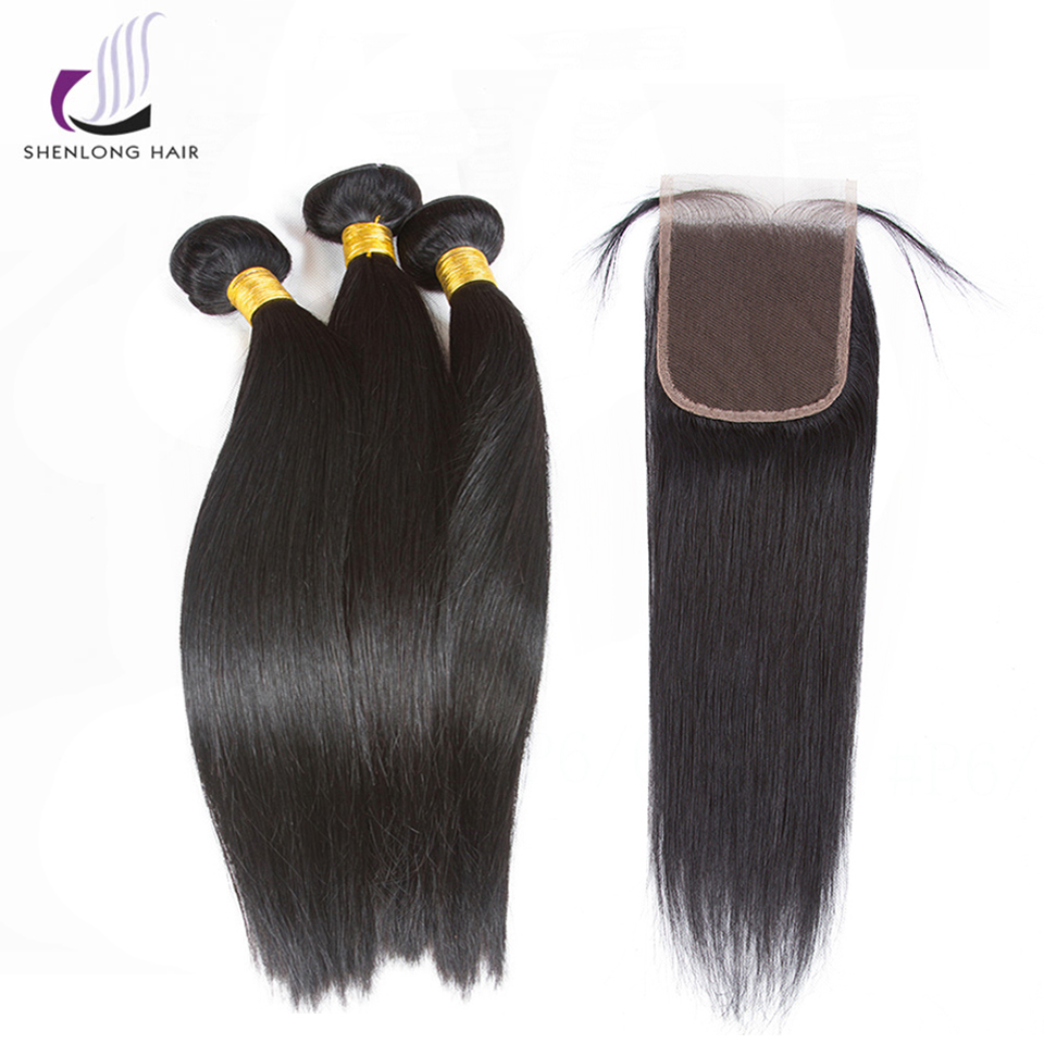 SHENLONG HAIR Malaysian Straight Hair Natural Color 3 Bundles With 4*4 Lace Closure Non Remy 100% Human Hair Extensions