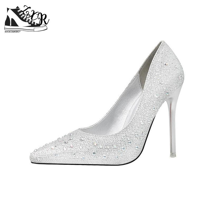 Women's Party Wedding Thin Heels Super High Heel Pumps 10cm Pointed Toe Crystal Rhinestone Elegant Women Casual Shoes women silver high heels wedding shoes elegant rhinestone thin heel 10cm 8 5cm patent leather sexy pumps elegant sexy shoes