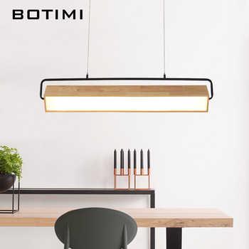 BOTIMI Modern Adjustable LED Pendant Lights With Wood Frame For Dining Room Wooden Rectangle Hanglamp Modern Suspension Light - DISCOUNT ITEM  30% OFF All Category