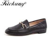 Genuine Leather Flats Shoes Women Black Flats Woman Metal De