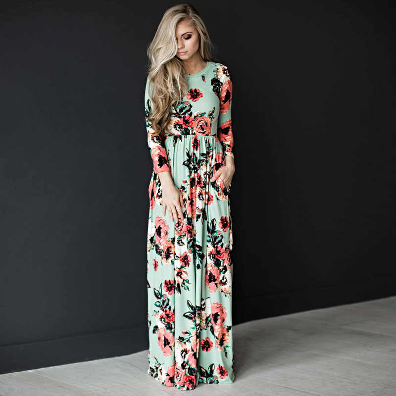 112a0749456e ... Women summer dresses 2018 new summer long sleeve elastic waist flower  print floor length maxi dress ...
