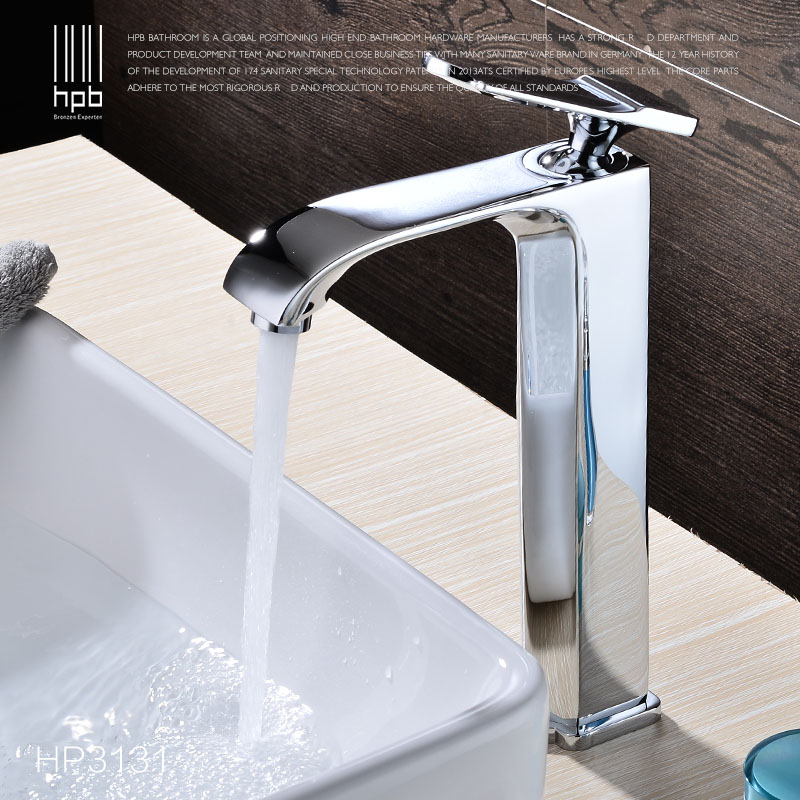 HPB New Design Chrome Tall Brass Bathroom Faucet Sink Basin Hot And Cold  Water Taps Single